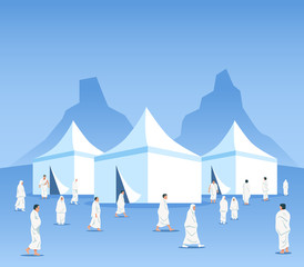 Muslim Pilgrims At Mina Tents