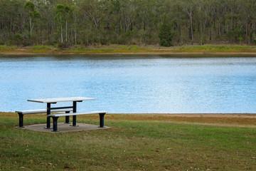 Picnic Table Beside A Lake