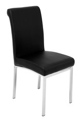 Kitchen elegant chair. Modern black leather chair for dining and kitchen, with aluminium chrome legs. Isolated on white background, with clipping path