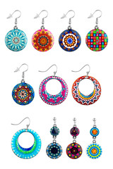 Woman earrings. Collection of earrings for women, with exotic and oriental designs, isolated on white background, clipping paths included