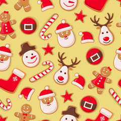 Gingerbread man cookies and Santa Claus candy seamless pattern vector. Christmas symbols winter holiday celebration, sock and hat, star and reindeer