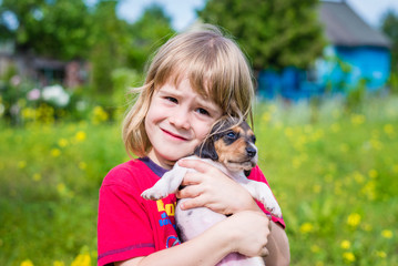 5-years old girl holds the Estonian hound puppy in her hands. Summertime in countryside.