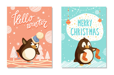 Card Hello Winter decorated by skating penguin in hat. Animal holding socks with pattern, greeting Merry Christmas. Winter postcard with birds vector