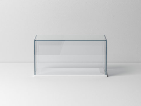 Glass box Mockup with white podium for product presentation or scale car model