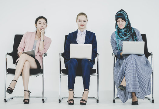 Group of diverse businesswomen working together as a team