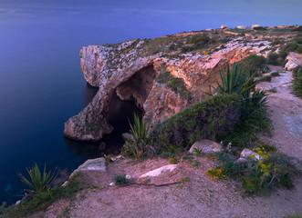 Blue Grotto.Natural arch in Malta