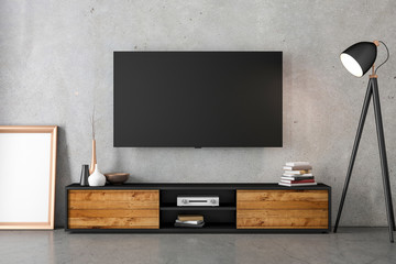 Smart Tv mockup hanging on the concrete with modern furniture