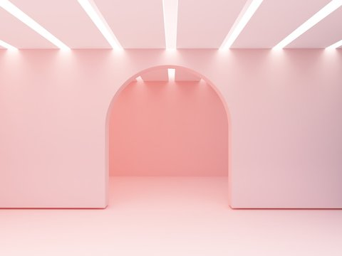 Arch in a wall and iluminated ceiling  of slats.  Empty room to show  a product. 3d Scene with geometrical forms. Minimalistic empty showcase, shop display, pastel colors.