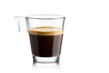 Black coffee in glass cup on white background