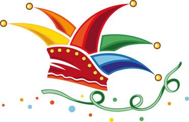 Karneval Fastnacht Narrenkappe Fasching Luftschlange Konfetti