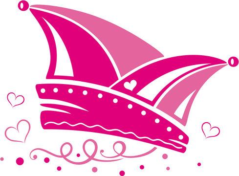 Narrenkappe Weiberfastnacht Karneval Fasching Herzen Pink