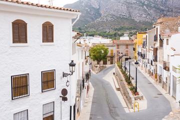 Travel, architecture and Mediterranean town concept - Spanish suburban street