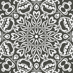 Seamless floral pattern motif coloring mandala drawn with a pen. black and white. Ethnic, fabric, motifs. Vector, abstract flower mandala. Decorative elements for design. EPS 10.
