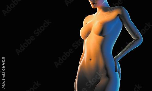 Naked female 3d render