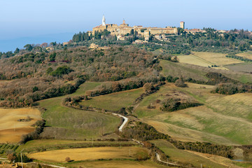 Beautiful aerial view of Pienza and surroundings, Siena, Tuscany, Italy