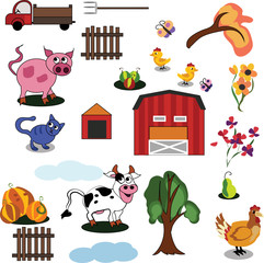 Farm animals illustration, Stickers with domestic animals, Colorful set of farm animals. Barn and trees on a white background. Doodles and sets for the design of the farm.