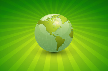 Abstract business background, green with earth globe