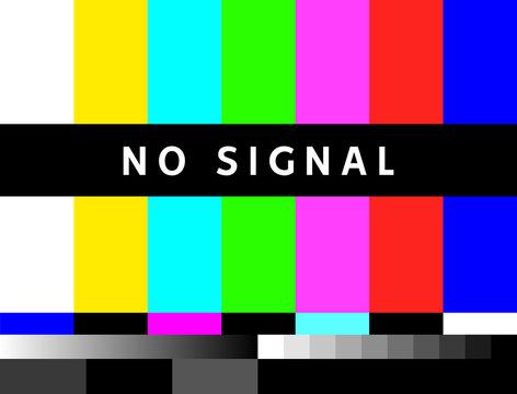 TV no signal background illustration. No signal television screen graphic broadcast design