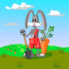 Rabbit farmer in the garden