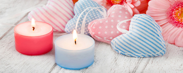 Decoration with candle and hearts
