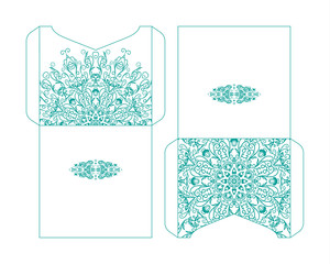 Flyer laser cutting mandala.Vector paper card with lace pattern of blue, turquoise color. Wedding invitations, cards and business card templates. Decorative laser cutting cards for construction