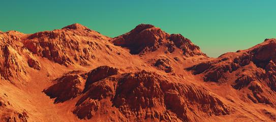 Mars landscape, 3d render