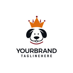 king dog logo design concept , dog crown vector logo design template