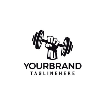 hand barbel Vector logo design for fitness club design vector template