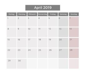 German Calendar April 2019