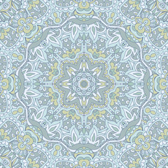 Cute Seamless abstract mandala floral pattern vector background in pastel colour