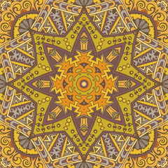 Oriental flourish ornament doodle yellow mandala vector.