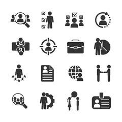 Vector set of job hunting icons.