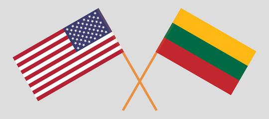 USA and Lithuania. The United States of America and Lithuanian flags. Official colors. Correct proportion. Vector