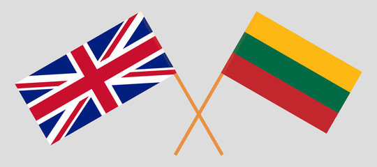 Lithuania and UK. The Lithuanian and British flags. Official colors. Correct proportion. Vector