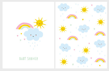 Cute Baby Shower Vector Card and Pattern. White Background. Blue Smiling Cloud with Raindrops.Funny Yellow Sun. and Colorful Rainbow with Tiny Hearts. Lovely Nursery Art.Infantile Style Kawii Design.
