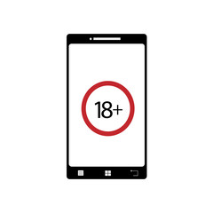 Illustration of mobil phone porn icon. Vector silhouette on white background. Symbol of telephone, cell phone, smartphone. Sign 18+.
