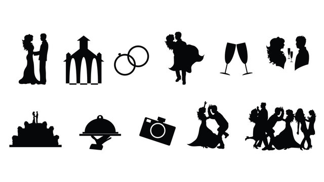 Illustration of wedding icon. Vector silhouette on white background. Set of symbols of marriage.