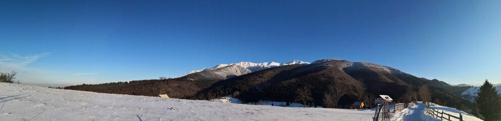 Mountains and forest during winter season. Sunny day in the mountains during winter time. Panoramiv view.