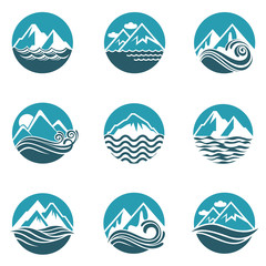 collection with abstract icons of mountain and sea wave