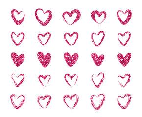 Red Glitter Heart Set. Vector