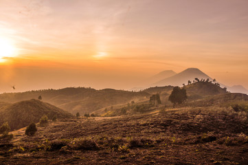 sunset view in merbabu montains Indonesia