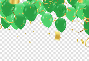birthday card with green balloons. Happy birthday. Wall mural