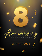 8 Years Anniversary Celebration event. Golden Vector birthday or wedding party congratulation anniversary