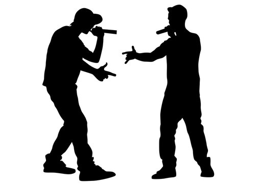 Hip-hop artists with microphones on stage on white background
