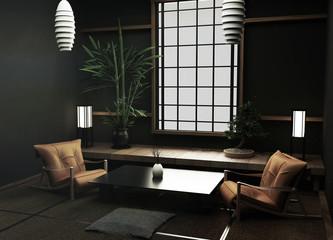 Tatami mats and paper sliding doors called Shoji room japanese zen style.3D rendering