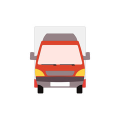 Small truck front view. Delivery red van mockup. Vector commercial transport
