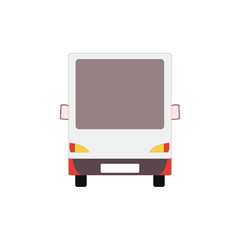 Small truck back view. Delivery red van mockup. Vector commercial transport