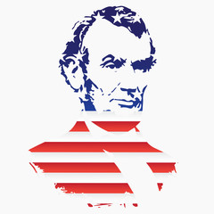 Silhouette of Abraham Lincoln from the texture of the National Flag of the United States. EPS10