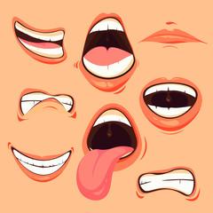 Cartoon dynamic various facial expressions mouths set. Vector face element tongue, teeth, lips illustration