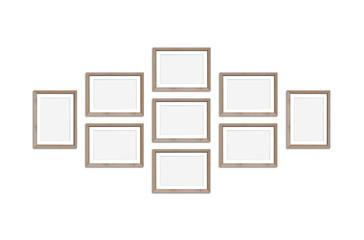 Frames collage, nine wooden realistic frameworks on white